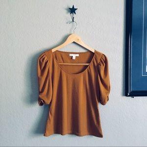 Textured puff balloon 1/2 sleeves golden brown